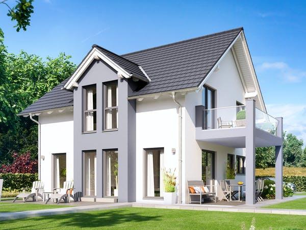 Zweifarbiges Haus mit Zwerchgiebeldach und Terrasse