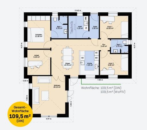 Hauscompagnie Bungalow 110 Floorplan 1