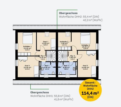Hauscompagnie Doppelhaus 114 Floorplan 2