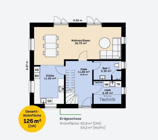 Hauscompagnie EFH 126 A Floorplan 1