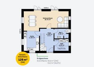 Einfamilienhaus 126 A Grundriss