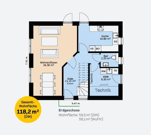 Hauscompagnie Stadtvilla 118 Floorplan 1