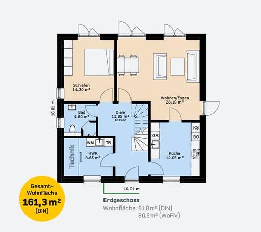 Hauscompagnie Stadtvilla 161 Floorplan 1