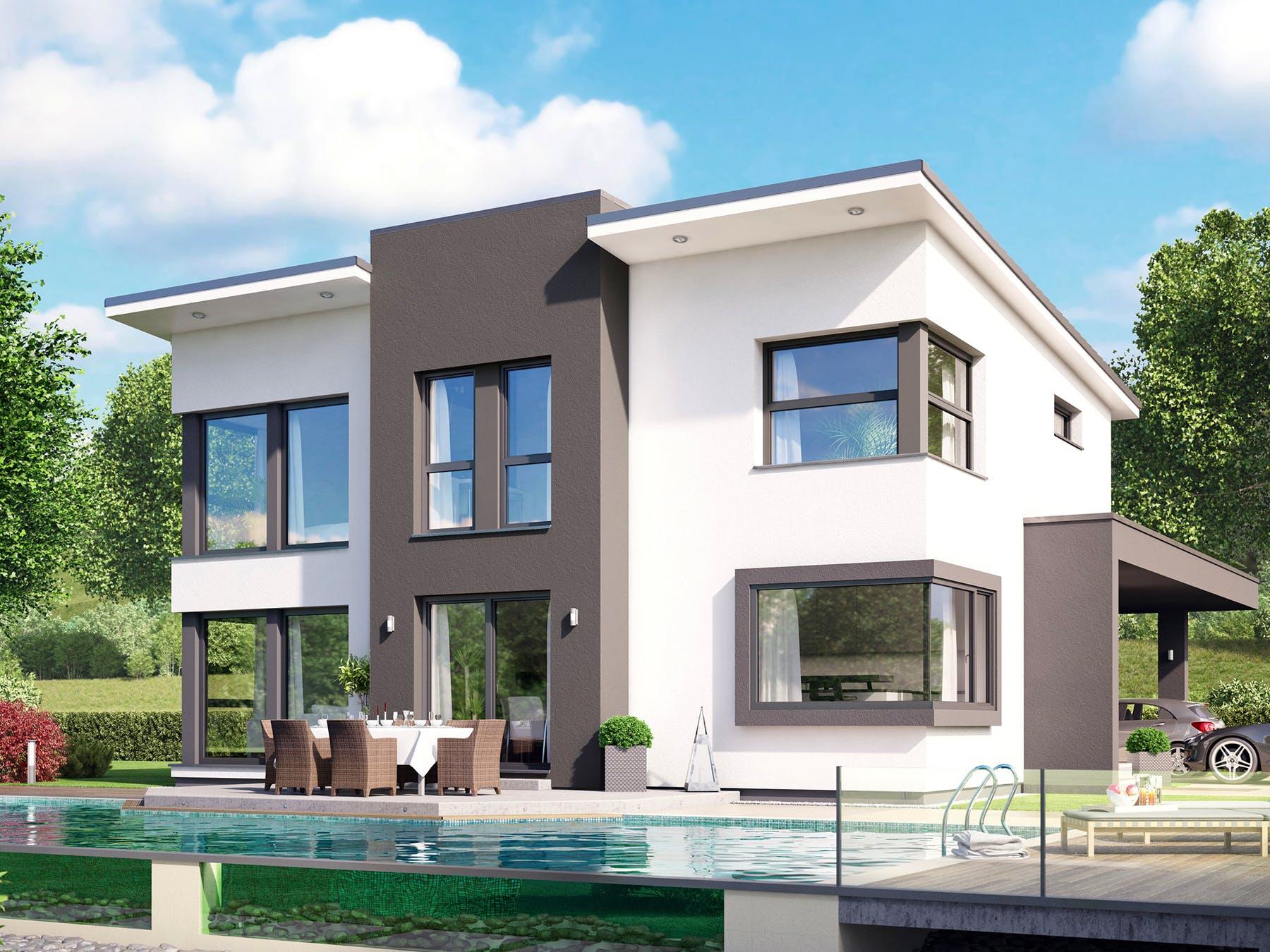 Modernes Haus in schwarz und weiß, Außenansicht
