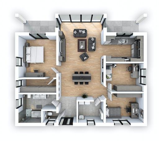 Hebel - EFH Bungalow 125 Floorplan 1