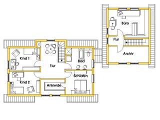 Heidi (KfW-Effizienzhaus 40) von Dammann-Haus Grundriss 1