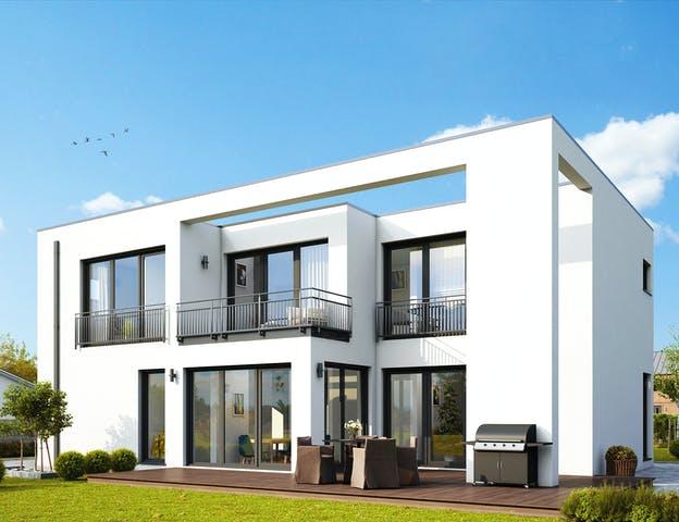 Bauhaus Haus mit großen Fenstern