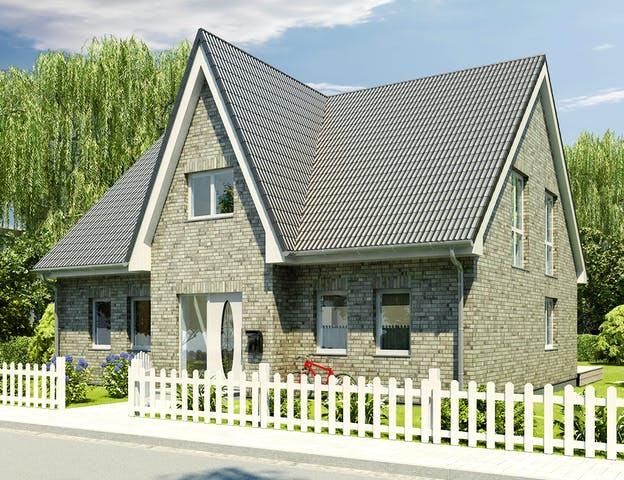 Massivhaus mit Friesengiebel und Klinkerfassade