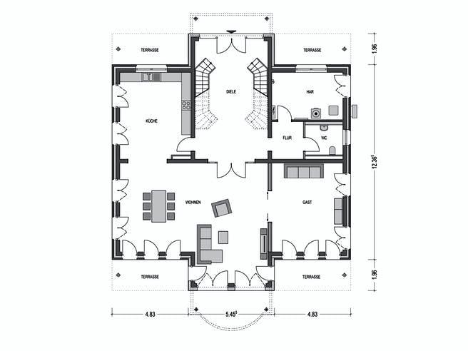 Arcus 300 von Heinz von Heiden Massivhäuser Grundriss 1