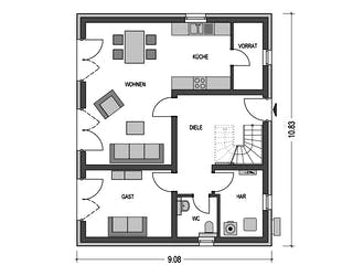 Calvus 620 von Heinz von Heiden Massivhäuser Grundriss 1