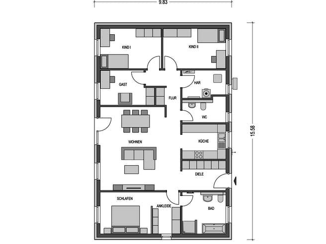 Cumulus 780 von Heinz von Heiden Massivhäuser Grundriss 1