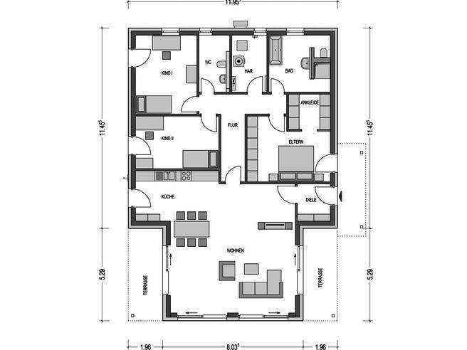 Cumulus 990 von Heinz von Heiden Massivhäuser Grundriss 1