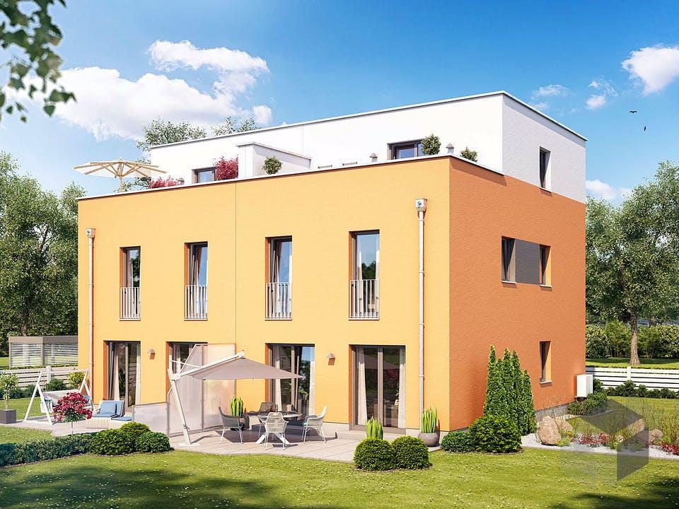 Doppelhaus F 452 von Heinz von Heiden Massivhäuser Außenansicht