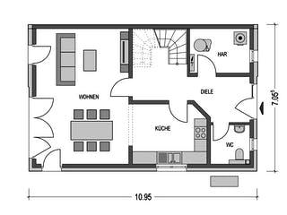 Doppelhaus L10 von Heinz von Heiden Massivhäuser Grundriss 1