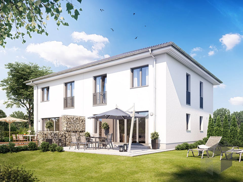 Doppelhaus Z 550 von Heinz von Heiden Massivhäuser Außenansicht