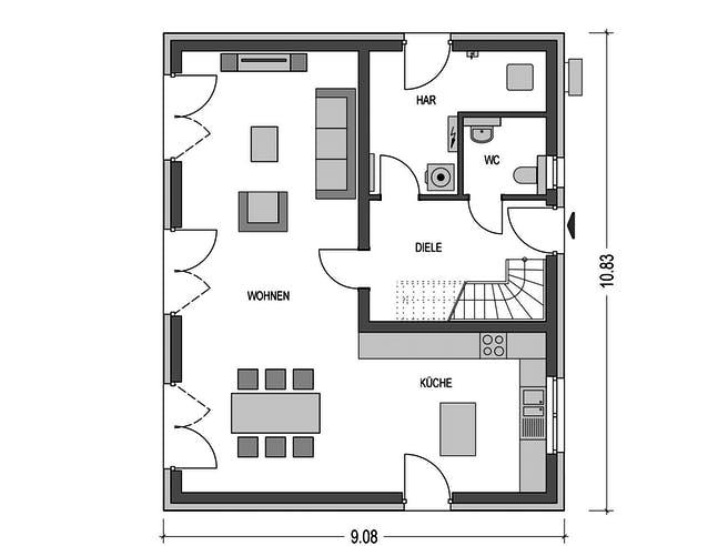 Effizienzhaus S62 von Heinz von Heiden Massivhäuser Grundriss 1