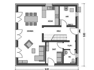Effizienzhaus V15 von Heinz von Heiden Massivhäuser Grundriss 1