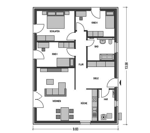 HvH - Einfamilienhaus B76 Floorplan 1
