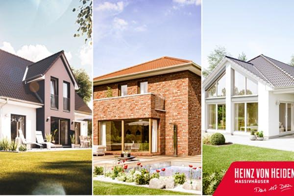 Das Bild zeigt drei Hausbeispiele von Heinz von Heiden-Häusern