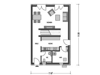 DOPPELHAUS 2F553 von HVO Massivhaus Grundriss 1
