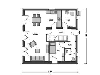 ELEGANZ 2150 von HVO Massivhaus Grundriss 1