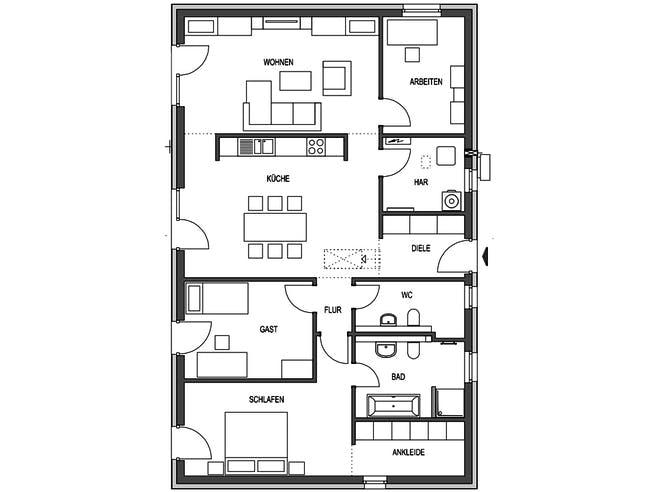 IDEAL 2781 von HVO Massivhaus Grundriss 1