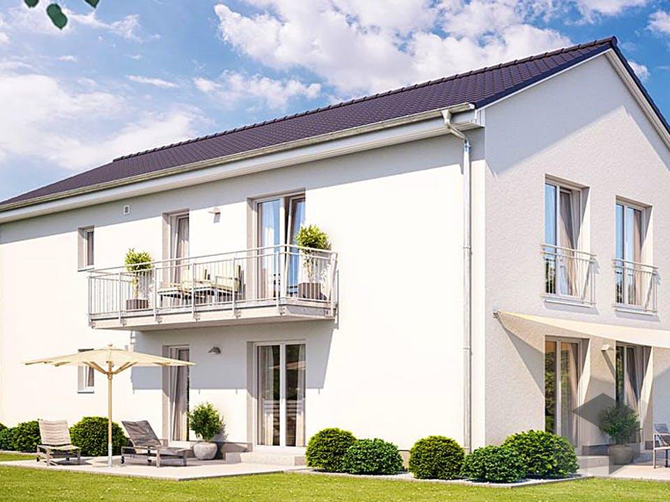 ZWEIFAMILIENHAUS 2490 von HVO Massivhaus Außenansicht