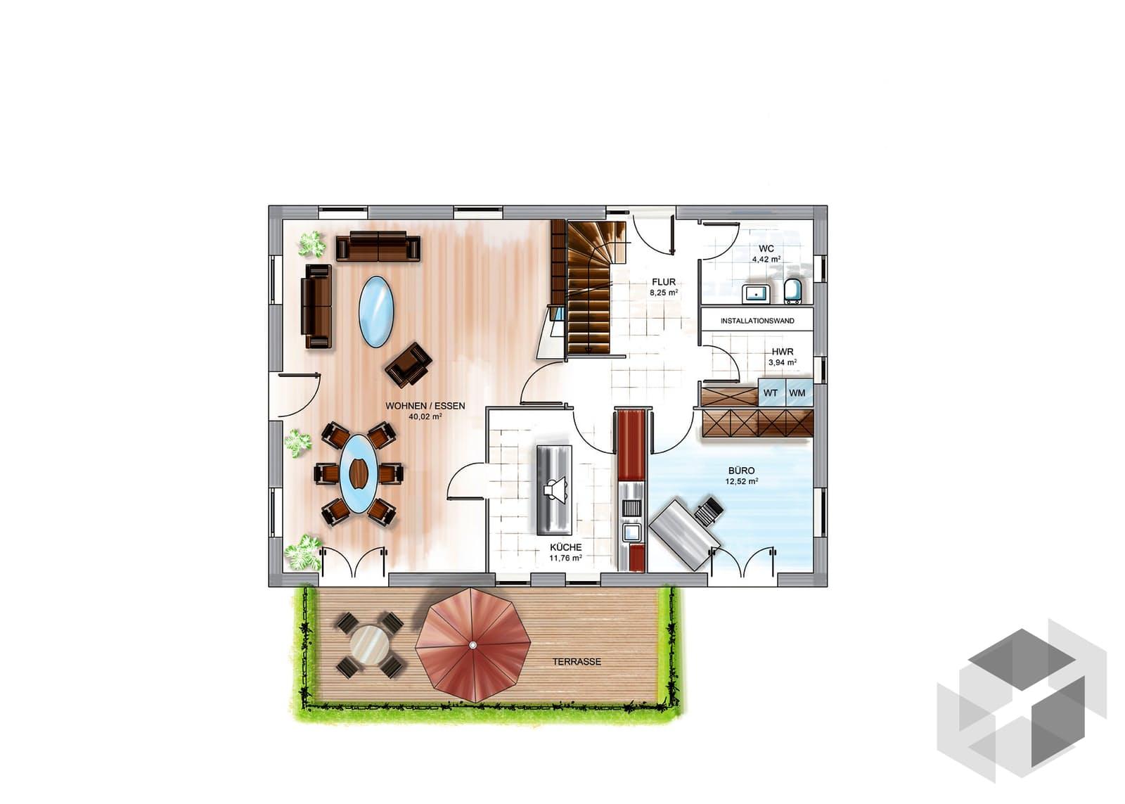 icon 4 city mit satteldach von dennert massivhaus. Black Bedroom Furniture Sets. Home Design Ideas