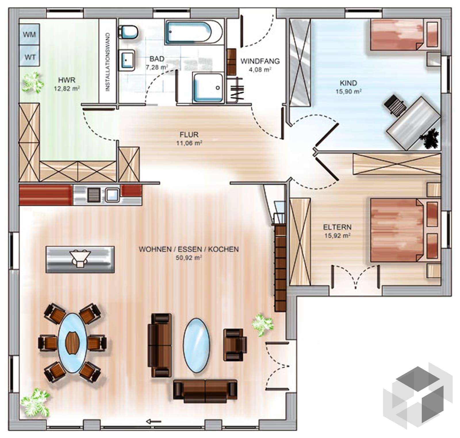 icon winkelbungalow inactive von dennert massivhaus. Black Bedroom Furniture Sets. Home Design Ideas