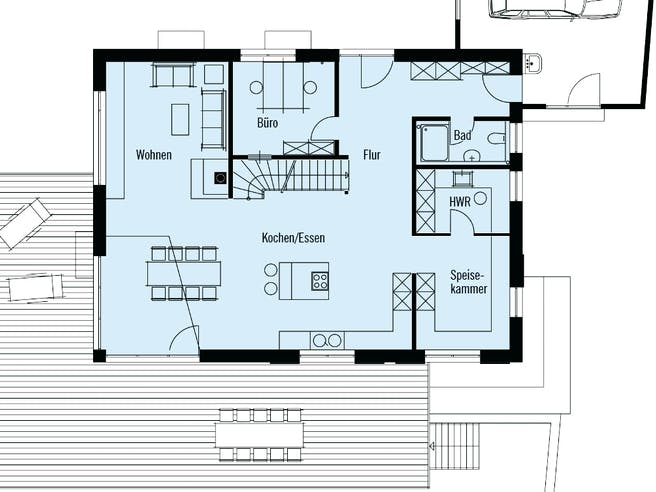 Individuelle Planung Modern Living von Baufritz Grundriss 1