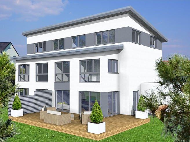 Doppelhaushälfte Pultdach von KAMPA Außenansicht 1