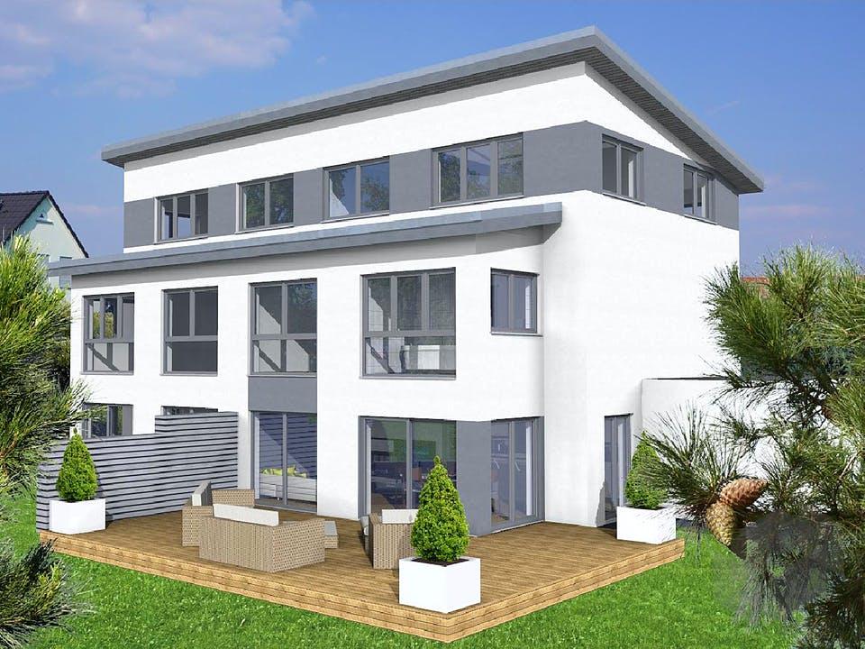 Doppelhaushälfte Pultdach von KAMPA Außenansicht