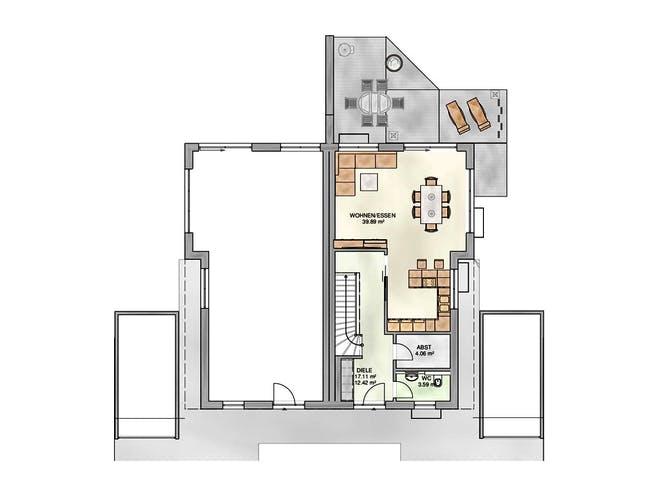 Doppelhaushälfte Satteldach von KAMPA Grundriss 1