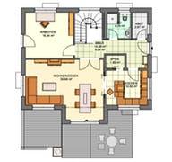 Einfamilienhaus mit Querhaus Grundriss