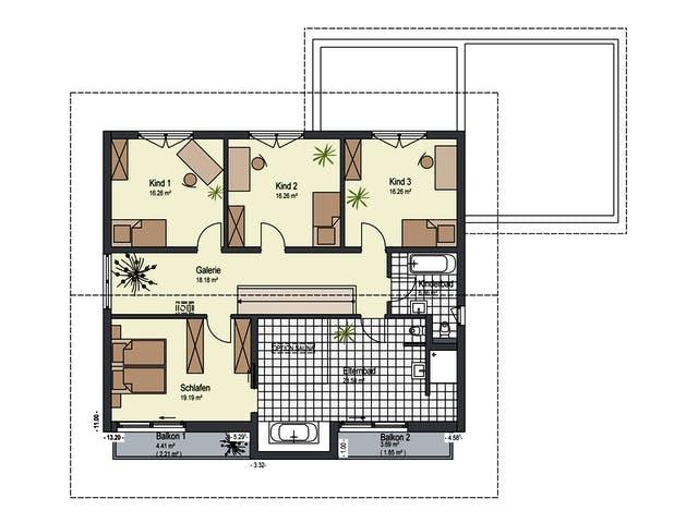 Grundriss 3 Kinderzimmer 1 Elternschlafzimmer