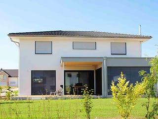 Stadtvilla Flachdach von Kielwein Holzbau Außenansicht 1