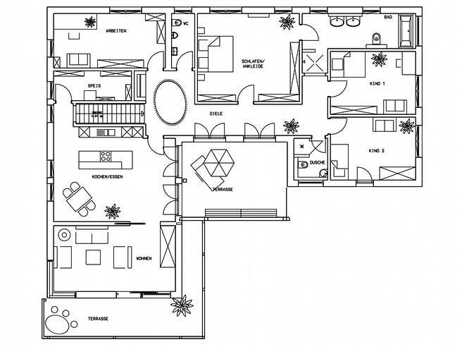 Klassische Bungalow von Baufritz Grundriss 1