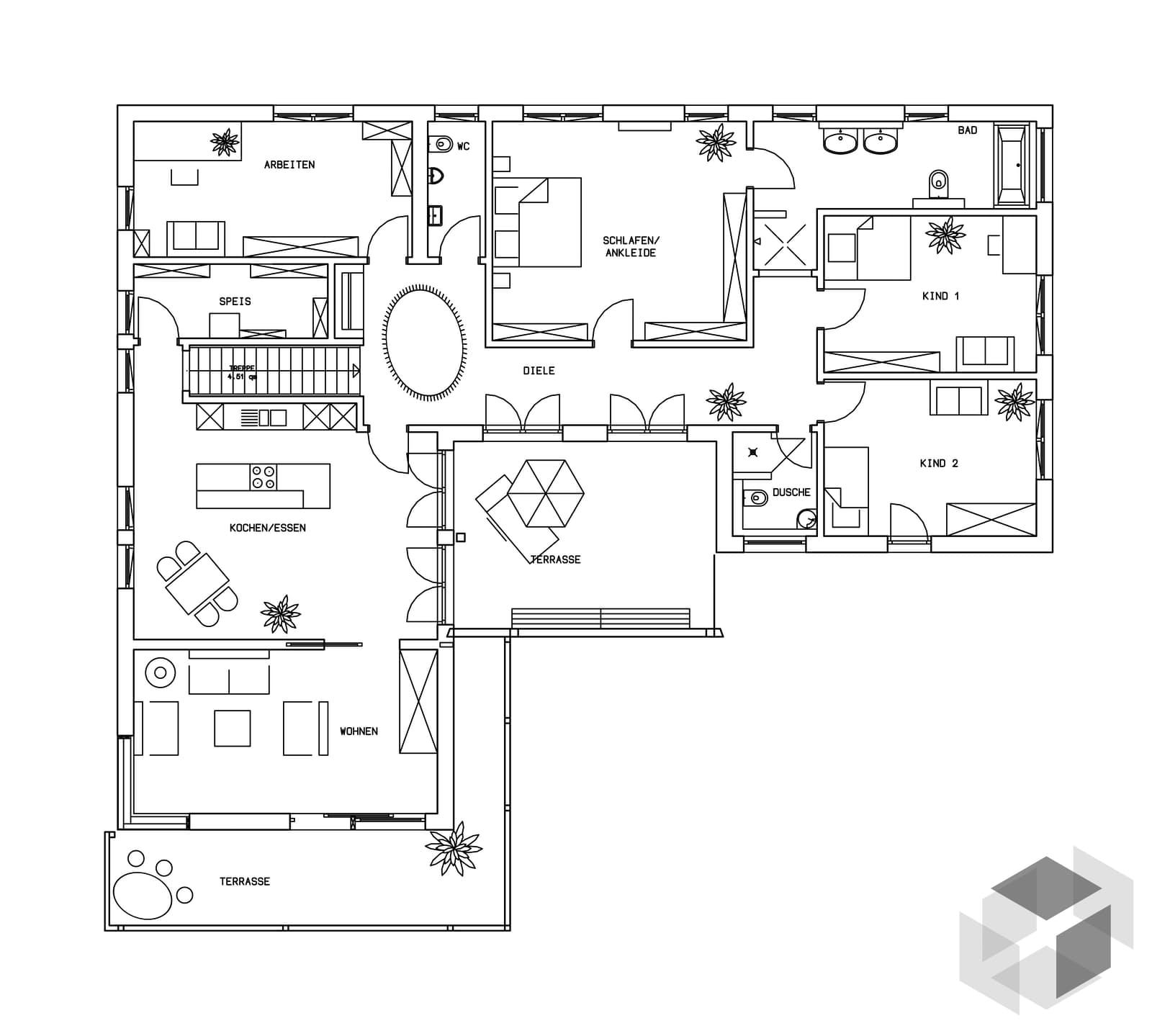 klassische bungalow kfw effizienzhaus 70 von baufritz. Black Bedroom Furniture Sets. Home Design Ideas