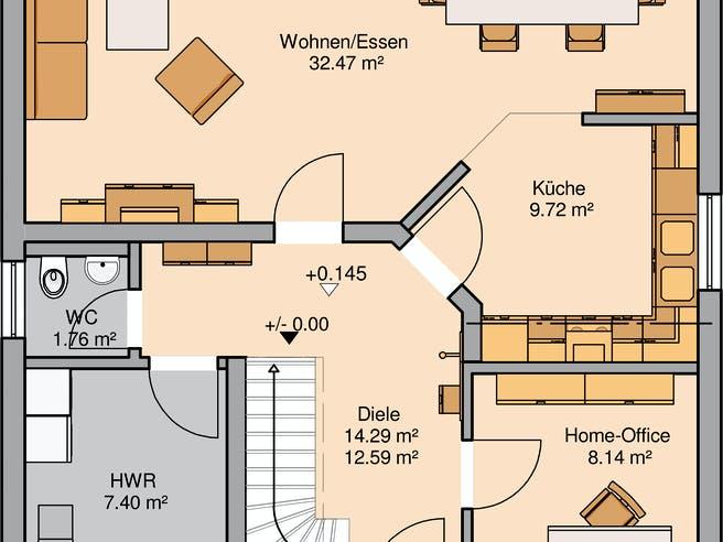 Architektenhaus Luna von Kern-Haus Grundriss 1