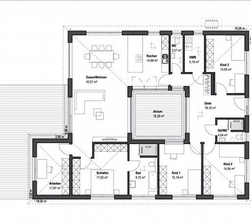 Luxhaus - Bungalow Walmdach 172 Floorplan 1