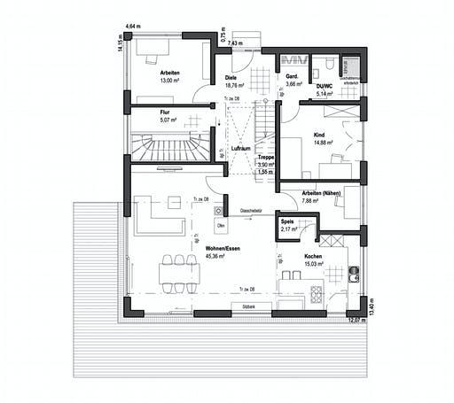Luxhaus - Pultdach Klassik 189 Floorplan 1