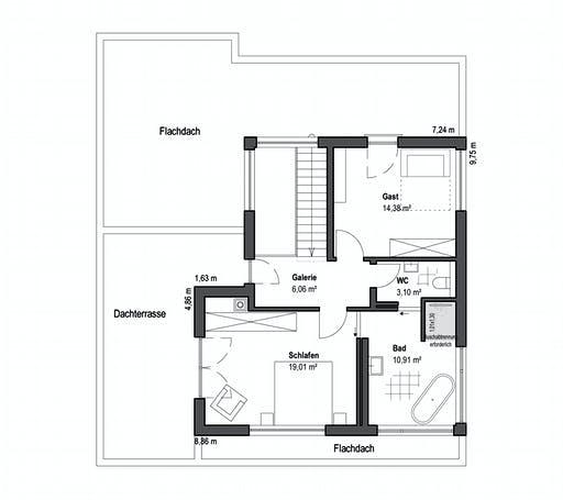Luxhaus - Pultdach Klassik 189 Floorplan 2