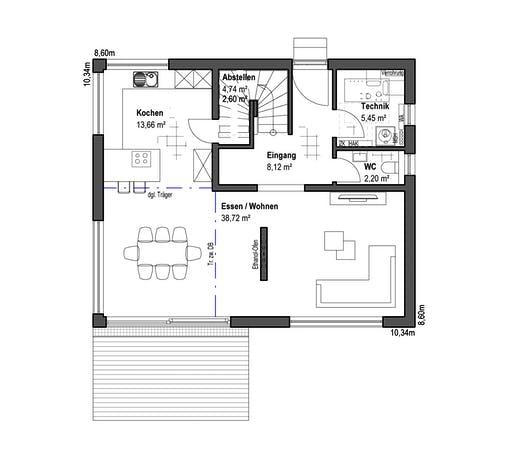 Luxhaus - Satteldach Landhaus 126 Floorplan 1