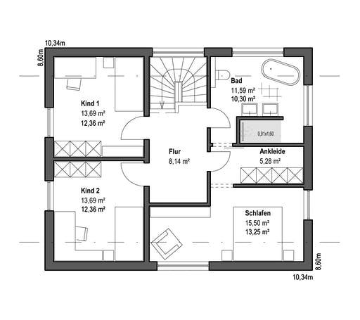 Luxhaus - Satteldach Landhaus 126 Floorplan 2