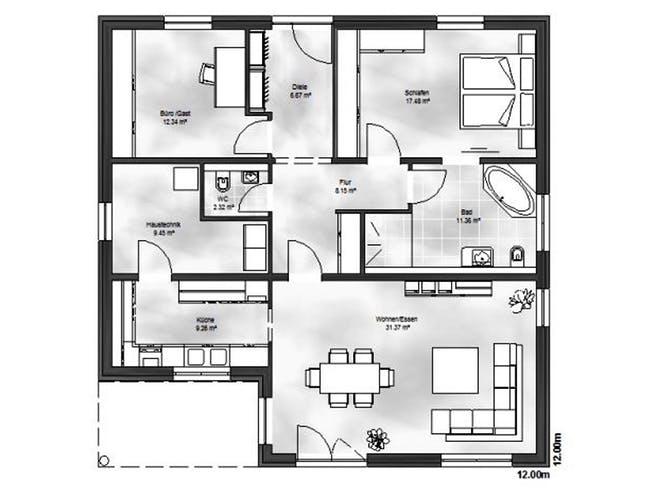 Massive Wohnbau - Bungalow 4 Floorplan 1