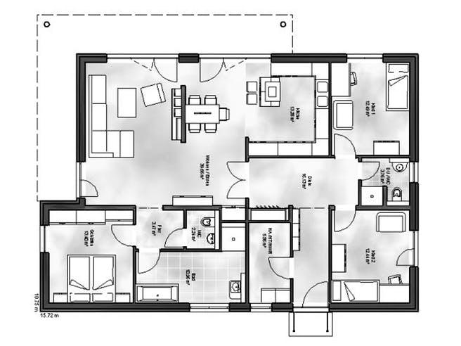 Bungalow 5 von Massive Wohnbau Grundriss 1