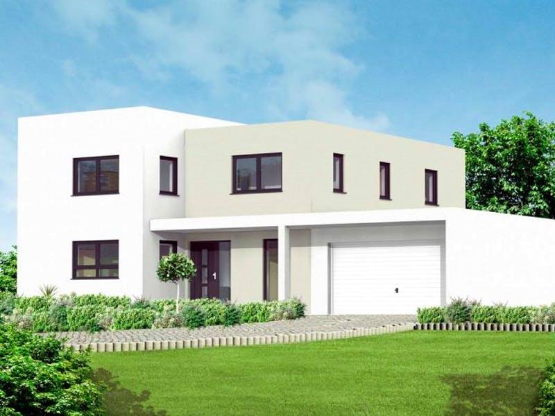 Weißes Kubushaus von Massive Wohnbau
