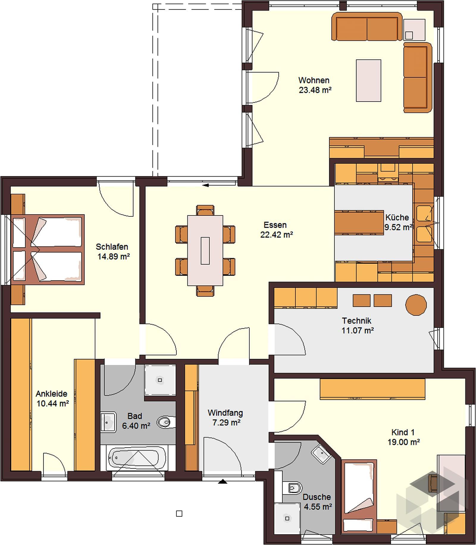 bungalow 129 mit flachdach inactive von zimmermann haus. Black Bedroom Furniture Sets. Home Design Ideas