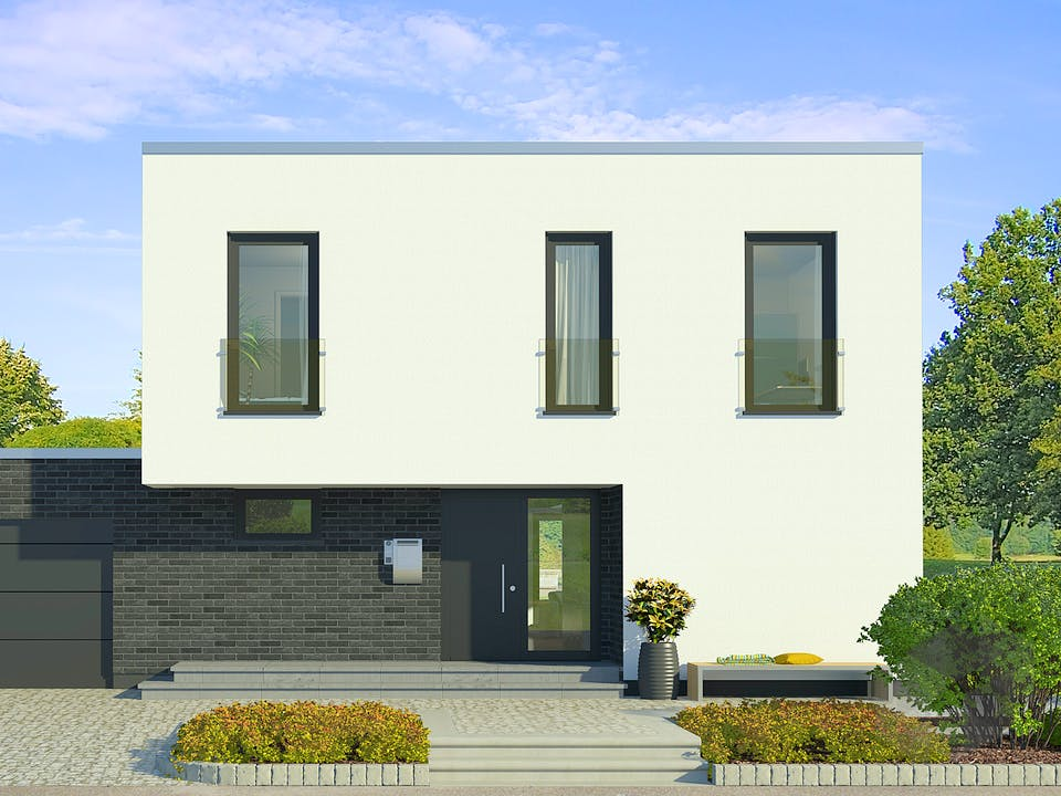 x-black 1 – Bauhaus-Villa mit Garage von Meisterstück-HAUS Außenansicht