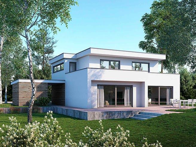 Flachdach210 von Meisterwerk Massivhaus Außenansicht 1
